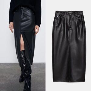 Zara Black Faux Leather Midi Skirt Size Small NWT